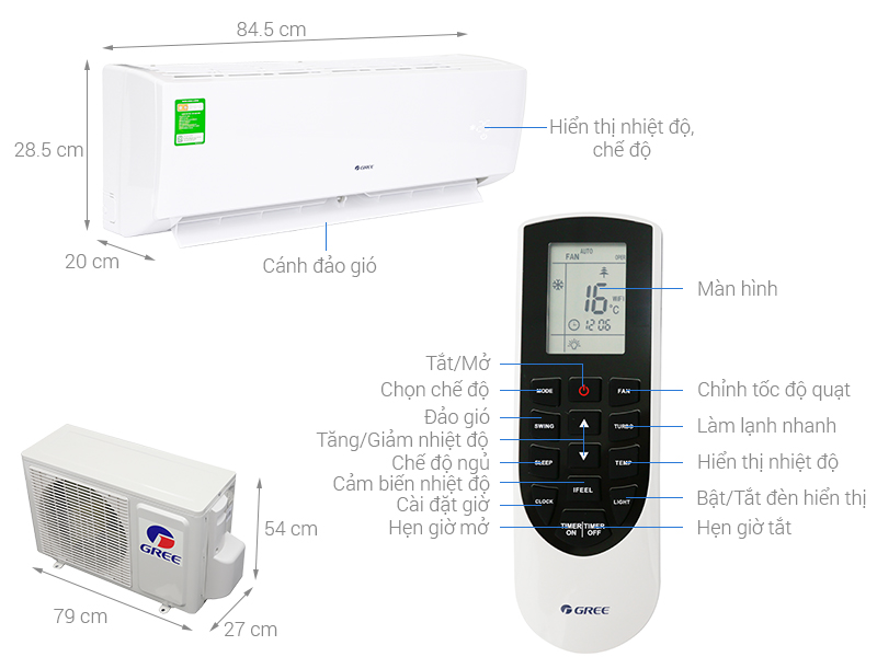 Điều hòa Gree Inverter 1 chiều 12000btu GWC12CA-K3DNC2I